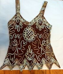 Pretty Angel Womens Size Small Brown Silk & Polyester Lace Embroidered Tank Top