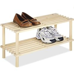 2-Tier Natural Wooden Multipurpose Storage Rack Closet Shoe Clothes Organizer