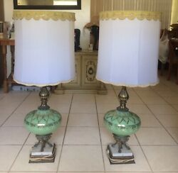 Vintage Antique Lamp Pair Minty Orig. Owner 1961 Green amp; Brown Glass amp; Marble. $675.00