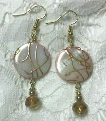 Mother of Pearl Pink Gold Drizzle Dangle Drop Earrings Shell 2