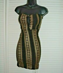 Women WINDSOR Homecoming Prom Formal Black Gold Sheer Window Dress SIZE S USA $19.99