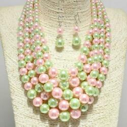 Green & Pink Combo 5 Layer Pearl Beaded Necklace ( 1003 )