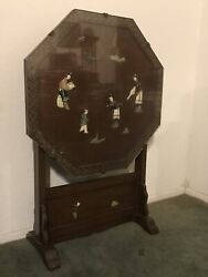 Chinese Tea Table Vintage Antique with Jade folds Up. $225.00