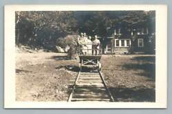 Narrow Gauge Railcar Men LAKE PLACID New York RPPC Vintage Railroad Photo 1949 $12.99