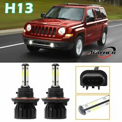 New!Pair H13 9008 LED Headlight Bulbs 4Side For Jeep Patriot 2017 High Low Beam