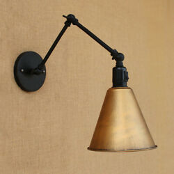 Industrial Brass Conical Shade Wall Sconce Light Swing Arm Wall Lamp LED Fixture $44.99