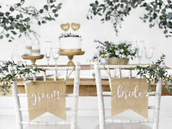 Bride Groom Chair Sign Burlap Banner Hessian Bunting Wedding Rustic Decorations GBP 7.99