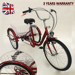 24 inch Adult Tricycle Senior Shopping 6 Speed 3 Wheels Cargo Bicycle Basket DHL