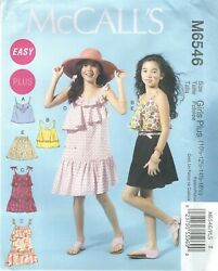 McCall#x27;s 6546 Girls#x27; Girls#x27; Plus Dresses Tops and Shorts Sewing Pattern $7.39