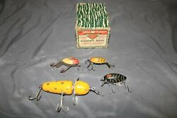4 Vtg Wooden Fishing Lures Hula Dancer +3 more + 1940's Pflueger Akron Reel Box