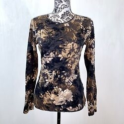 Croft and Barrow Long Sleeve Crew Neck Top Women's Size Small Black Brown Floral