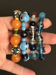 VINTAGE LOT OF 4 MURANO ART GLASS BEADED STRETCH BRACELETS - GORGEOUS!