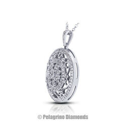 3 TCW F VS2 Round Cut Natural Earth Mined Certified Diamonds 18kw Gold Pendant