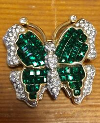 Vintage Green & Clear Rhinestone Butterfly BroochPin Invisible Set Stones
