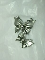 Vintage Silver Tone Double Butterfly With Rhinestone Pin Brooch