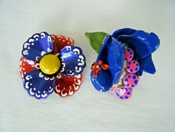 Vintage Recreated Enamel Flower Brooch Lot of 2 Mixed Colors