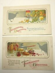 VINTAGE THANKSGIVING POSTCARDS 2 GREETINGS TURKEY & FOOD BY HENDERSON LITHO