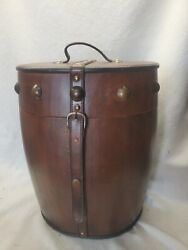 Nice Leather Covered Wooden Barrel w Hinged Top and Brass Hardware
