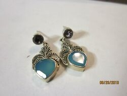 Sterling Silver Nicky Butler India Dangle Earrings Gorgeous Amethyst Blue Stone