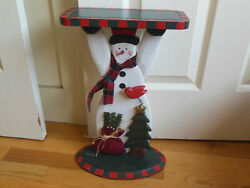 Wooden Snowman Butler Caddy Greeter Stand 16.5
