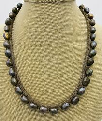 Fresh Water Peacock Baroque Pearl Sterling Necklace Vnt On Multi Link Mesh Chain