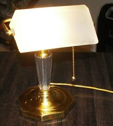 Bankers Lamp White Glass Shade Antique Vintage Style Office Desk Gold