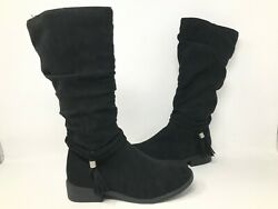 NEW SO Youth Girls Ellen Tall Zipper Fringe Boots Black #213532 191FGHiJK tk $20.99