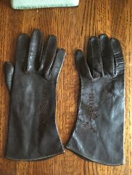 Brown leather gloves small petite $10.00