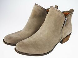 10 Lucky Brand Bartalino Zipper Edge Brown Suede Leather Ankle Boots Bootie EU40