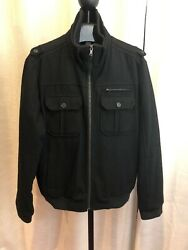 CALVIN KLEIN MENS 4-POCKET WOOL-BLEND COAT BLACK MEDIUM PERFECT CONDITION