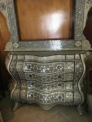 Antique Egyptian Sideboard Inlaid Mother of Pearl with Wall Mirror Frame