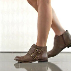 Lucky Brand Distressed Brown Leather Ankle Boots Booties Womens Size 10  40
