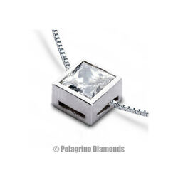 1 34ct G VS1 Princess Earth Mined Certified Diamond 18kw Gold Solitaire Pendant