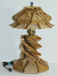 VINTAGE PRISON ART LAMP CRAFTED OUT OF POPSICLE STICKS WORKS PERFECTLY $93.75