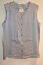 Chanel Light Gray Sleeveless 100% Silk Logo Button Down Pleated Blouse Size 42