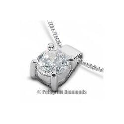 2.16ct D-SI3 Round Natural Certified Diamond 18kw Gold Classic Solitaire Pendant