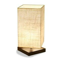 ZEEFO Simple Table Lamp Bedside Desk Lamp with Fabric Shade and Solid Wood for