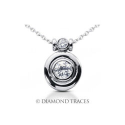 1.16 CTW D-VS2 Round Brilliant Earth Mined Certified Diamonds 14k Gold Pendant