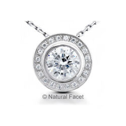 1.76ctw G VS1 Round Cut Earth Mined Certified Diamonds White Gold Halo Pendant