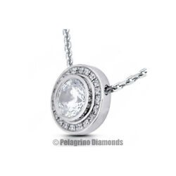 2 14 Carat F SI2 Round Cut Natural Certified Diamonds 14kw Gold Halo Pendant