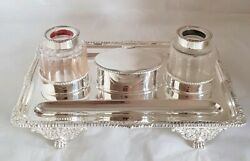 Victorian sterling silver ink well stand . London 1898 .By Carrington