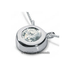 1 12 CT G VS1 Round Cut Natural Certified Diamond Platinum Solitaire Pendant