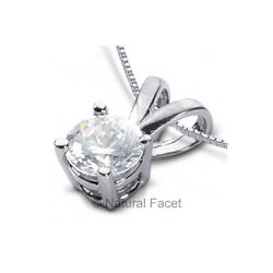 3.08ct F SI2 Round Natural Diamond White Gold Classic Solitaire Pendant