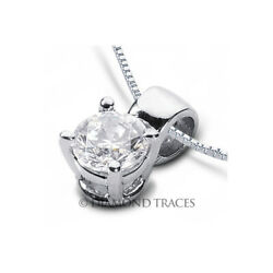 3ct D SI2 Round Earth Mined Certified Diamond 14k Gold Classic Solitaire Pendant