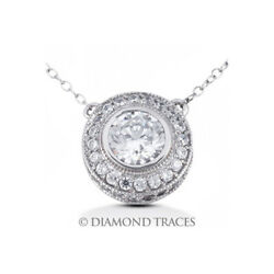 3 14 CTW H VS2 Round Cut Earth Mined Certified Diamonds 14k Gold Halo Pendant