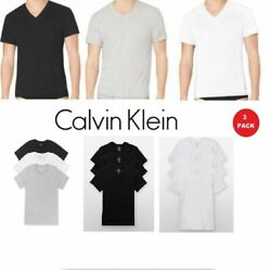 Calvin Klein Men#x27;s T Shirts 3 Pack 100% Cotton V Neck Crew Neck Tees Undershirts $22.90