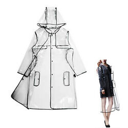 Women Girls Men Transparent Hoodie Clear Rainwear Runway Raincoat RainCoat