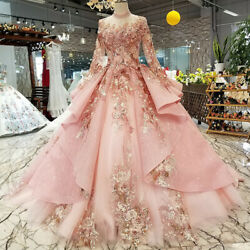 Pink Wedding Dress High Neck Long Tulle Sleeve Lace Up Princess Bridal Dresses