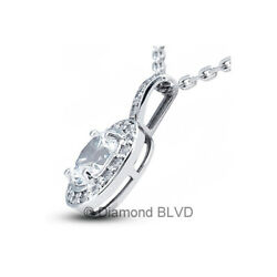 1.42CT Total DSI1 Oval Shape Natural Certified Diamonds 14K Gold Halo Pendant