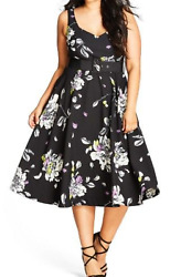 City Chic Floral Sketch Fit And Flare Dress In Black Size XL (22)